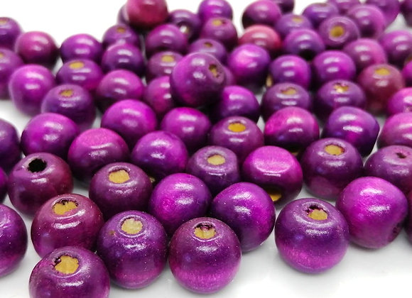Purple Wood Round Beads 12mm