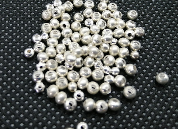 Small Round Metal Beads 2mm - Silver - Pack of 100