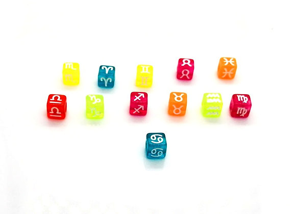 Zodiac Sign Bright Cube Bead - Cancer - 7mm Choice of Colours
