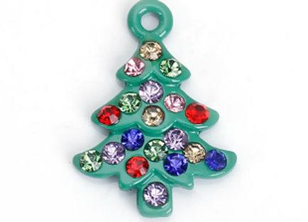 Green Christmas Tree Charm with Multicoloured Rhinestones
