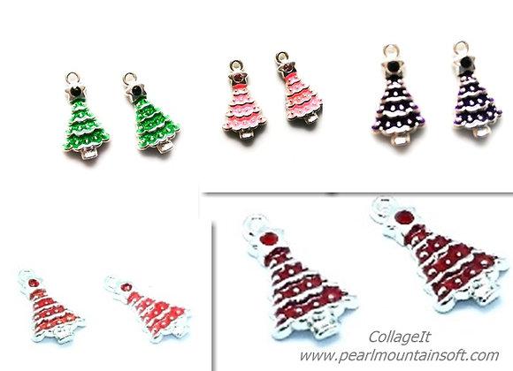 Christmas Tree Charm with Rhinestone - Choice of Colours