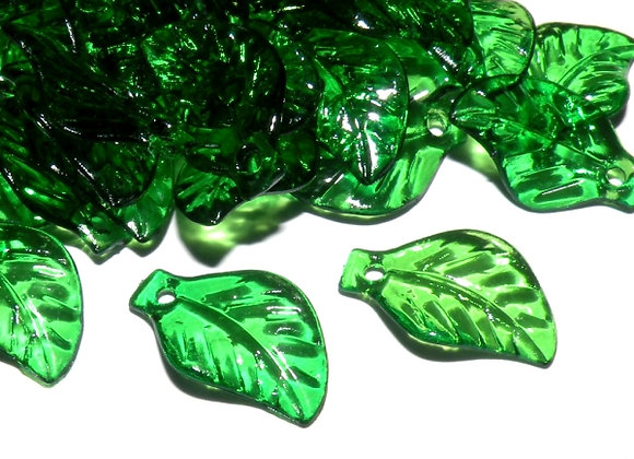 Transparent Leaf Charm Bead Pack - Green Pack of 50
