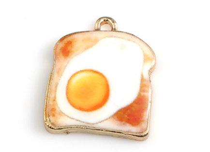 Egg on Toast Enamelled Charm/Pendant