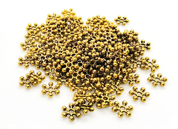 Antique Gold Snowflake Spacer Beads Pack of 100