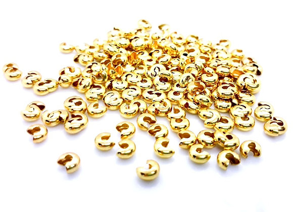 Crimp Bead Covers Pack of 50 Gold 4mm