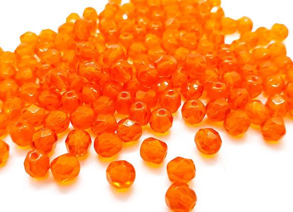 Preciosa Czech Fire Polished Bead Orange Glow Pack of 25