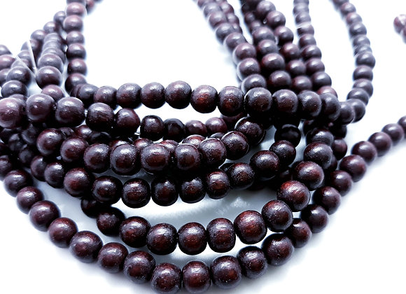 Phillippines Natural Dyed Wood Beads 5/6mm Chocolate Pack of100