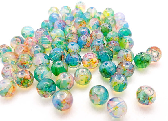 Multi Mix Glass Bead Ocean 8mm - Pack of 50