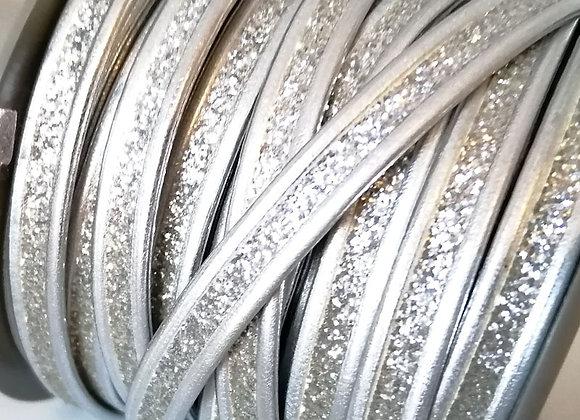Faux Flat Glitter Leather 8mm - Silver