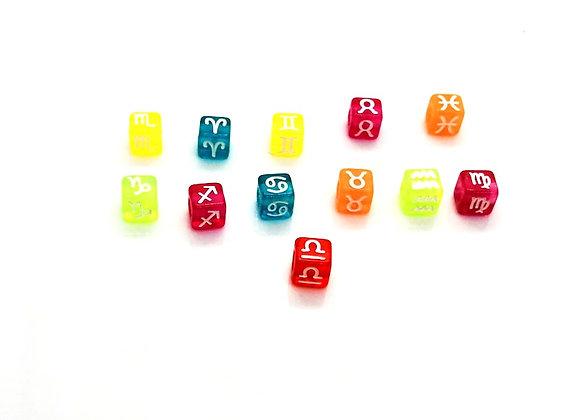 Zodiac Sign Bright Cube Bead - Libra - Colour Choice