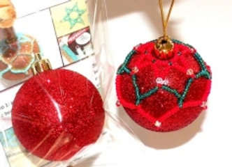 Beginners Beaded Bauble Cover - Red/Green