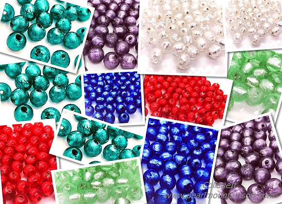 Handmade Silver Foil Glass Round Beads 10mm - Choice of Colours