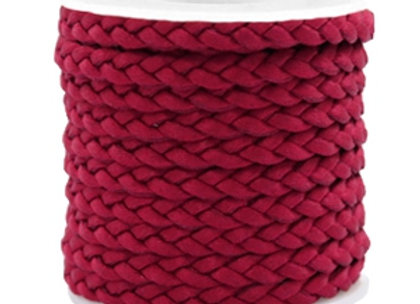Flat Cord Braided Silk Style 5mm Red