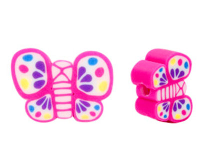 Polymer Clay Beads 12x9mm - Pink Butterfly