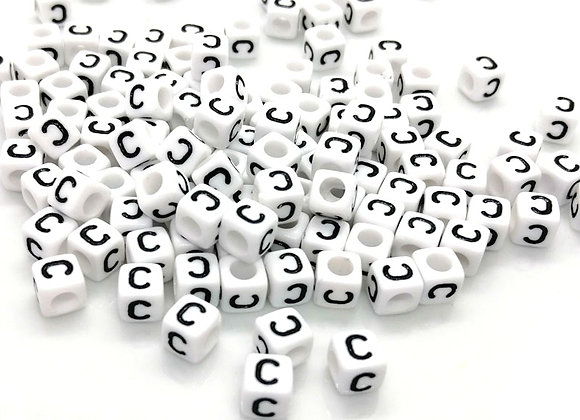 Acrylic Cube Letter C Pony Bead
