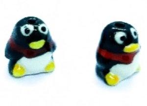 Ceramic Penguin Beads 16x15mm