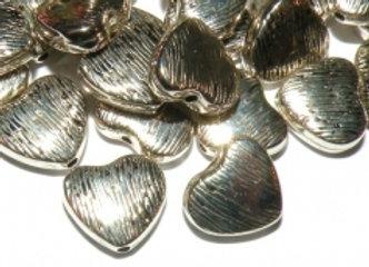 Antique Silver Ccb Acrylic Heart Bead
