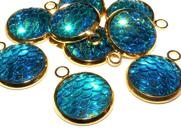 Resin Mermaid Scales Charms Pack of 2 - Teal/Gold