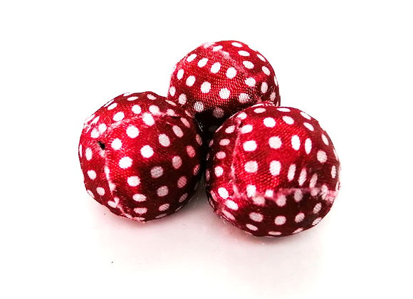 Woven Cloth Beads - Red & White Spot