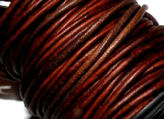 Distressed Brown Indian Round Leather 1mm