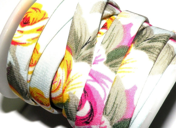 Flat Fabric Cord 10mm - Soft Floral Print
