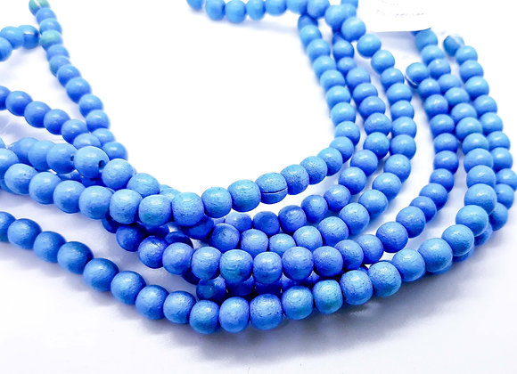 Phillippines Natural Dyed Wood Beads 5/6mm Sky Blue Pack of 100