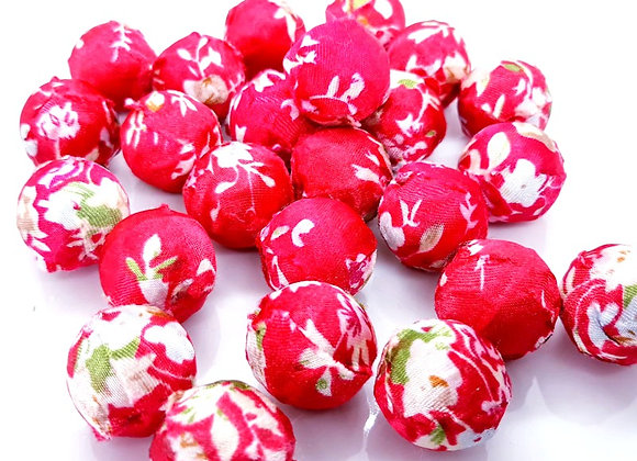 Red Soft Floral Cloth Woven Bead