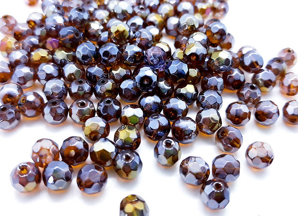 6mm Electroplate Faceted Glass Round Bead Amber Shimmer Pack of 10