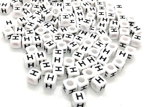 Acrylic Cube Letter H Pony Bead
