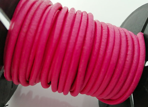 Round Indian Leather - Fuschia Pink 2mm