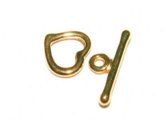 Gold Plate Heart Toggle, no Loop