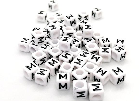 Acrylic Cube Letter M Pony Bead