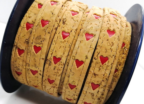 Flat Beige Leather with Red Heart Cut Outs 10mm