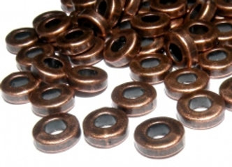 Metal Washer Spacer Beads 2x6mm - Copper - Pack of 10