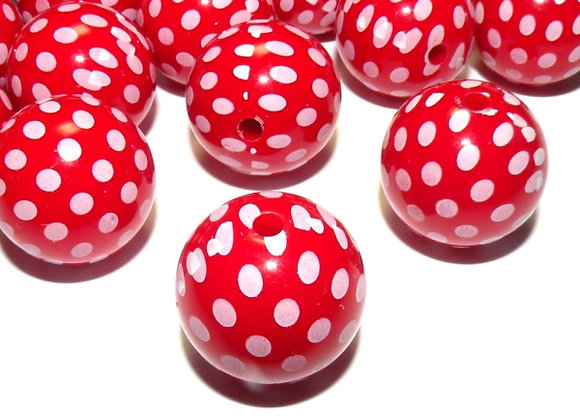 Chunky Round Beads 20mm - Red Dotty