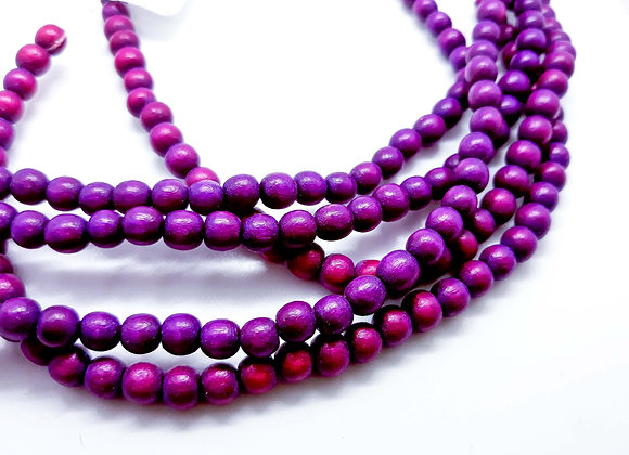 Phillippines Natural Dyed Wood Beads 5/6mm Purple Pack of 100