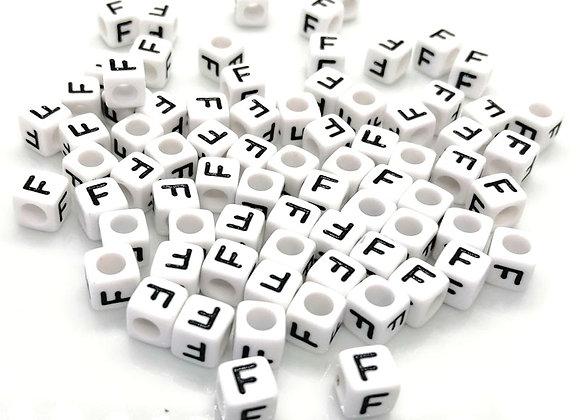 Acrylic Cube Letter F Pony Bead