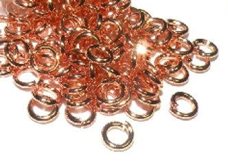 Brass Open Jump Rings Rose Gold 5mm Pack of 50