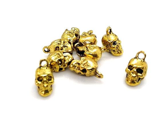 Heavy Metal Skull Charm - Gold