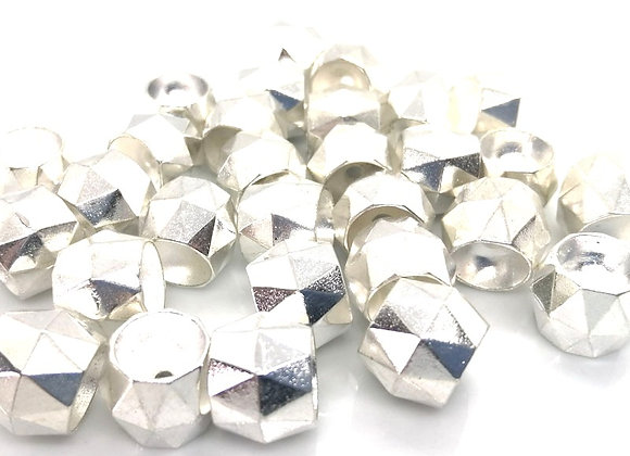 Large Bright Silver Faceted Spacer Bead 12mm Pack of 10