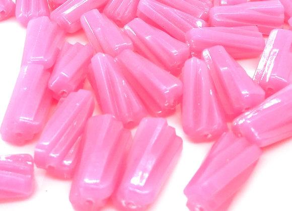 Ridged Tube Pink Bead