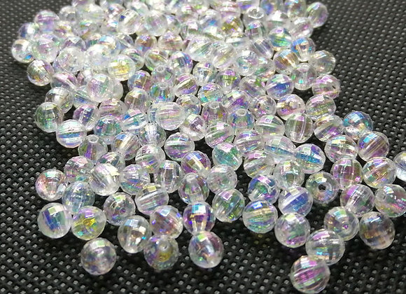 6mm Transparent Faceted AB Colour Bead Pack of 50