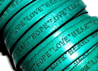 Turquoise Love Hope Heart Flat Leather 10mm