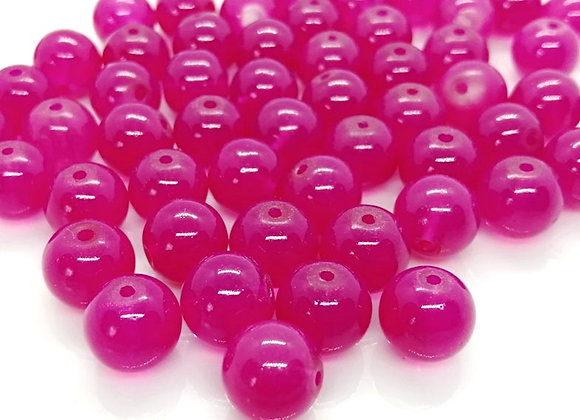 Transparent Glass Bead 10mm - Hot Pink
