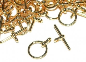 Gold Toggle Clasp-Round