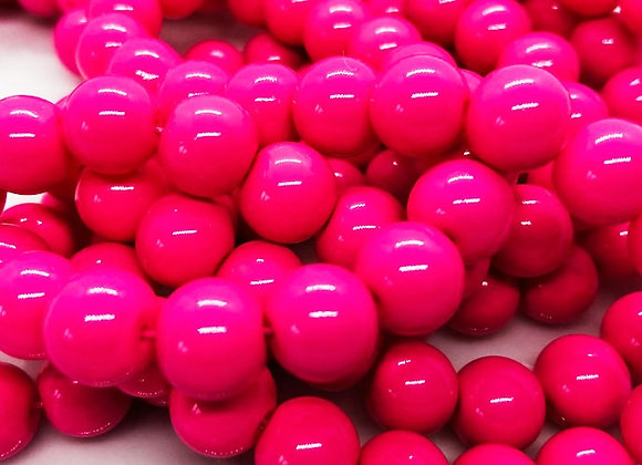 Glass Round Beads Fuschia Pink 8mm Pack of 50