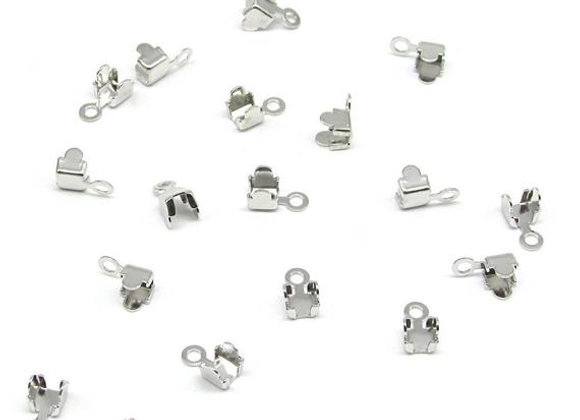 Rhinestone cupchain end fittings, silver, for jewellery making