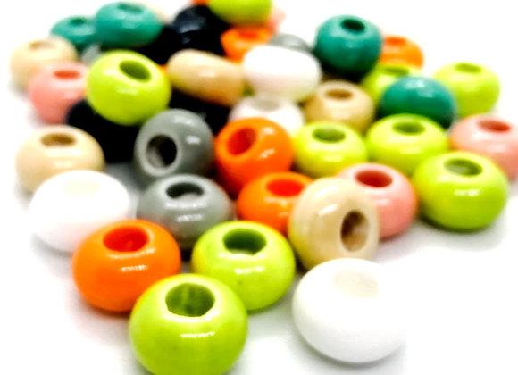 Bright Glazed Porcelain Rondelle Beads Pack of 4