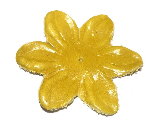 Large Soft Leather Flower 55mm - Yellow