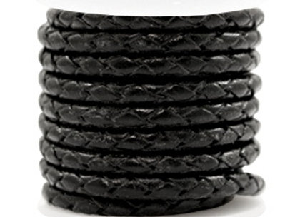 Designer Quality Round Braided Leather 4mm - Black Metallic